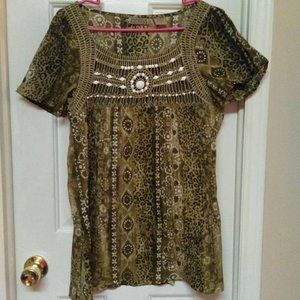 Art And Soul Beaded Peasant Blouse
